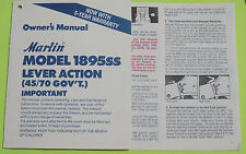 MARLIN MODEL 1895SS LEVER ACTION 45/70 GOV'T OWNER'S MANUAL 10 PG INFO DATE 6/92