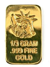 1/3 Gram .999 Fine 24k Gold Bullion Bar - In Assay Card