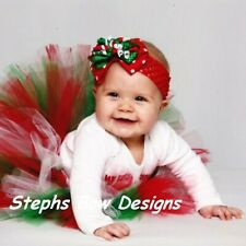 Christmas Red Green Dots Layered Korker Hair Bow Soft Headband Preemie to Adult