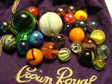 30 Awesome Glass Collector/Player Marbles W Crown Royal Bag Gift Collect Play