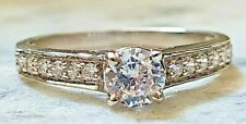 Ring Band 14kt White Gold Over Classic Engagement 0.5ct Round Diamond Solitaire