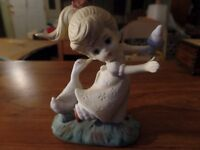 "5"" Tall Porcelain Girl W/ Ice Cream Cone & Goose Figurine #2766"