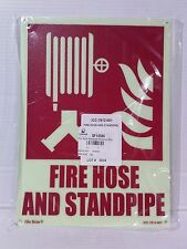 Lawson/Glo Brite Photoluminescent FIRE HOSE AND STANDPIPE Sign (LS093-1)