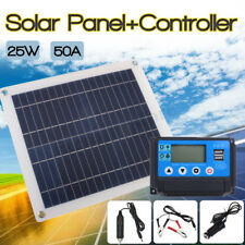 25W USB Solar Panel Battery + 50A Charger Controller Kits For Phone RV Car