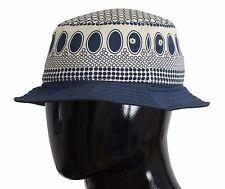 NWT $240 DOLCE & GABBANA Sun Hat Blue Cotton Silk Fedora Trilby  Mens s. 58 / M