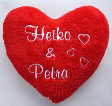 Herzkissen, Valentinstag, Plüschkissen, Kissen mit Namen bestickt | Geschenk