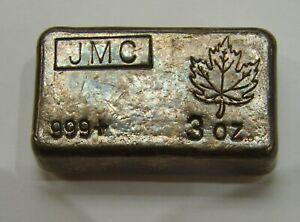 Johnson Matthey Canada - 3 Troy oz. .999 Silver Bar - Old Poured Ingot