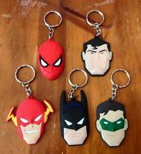 Lot of 5 Superheroes Keyrings - Batman, Spider-Man, Flash, Superman