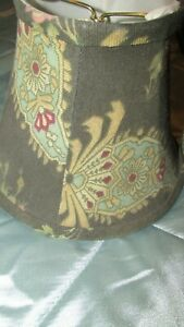 WAVERLY #1 LAMPSHADE CHOCOLATE BROWN PINK PAISLEY LAMP SHADE SMALL ROUND CLIP ON