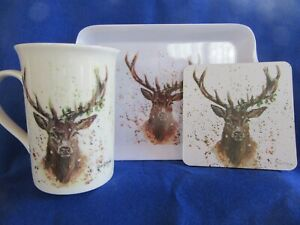Stag Mug - Coaster and Snack Tray Gift Set - Christmas Stag Set - Gift Boxed