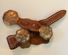Vintage Chico Brown Studded Leather Belt Copper & Silver Conches Boho Small