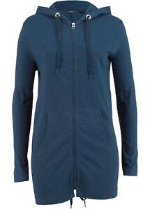Shirtjacke mit Kapuze sehr dünn, Parka-Jacke, Damenjacke, Longjacke blau 510 NEU