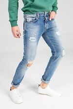 New LTB Martino 51044 Mens Distressed Ripped Tapered Jeans Blue Faded Denim w28