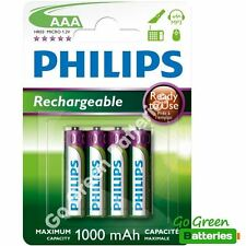 4 X Philips AAA 1000 mAh Rechargeable Piles LR03 HR03-DECT phone NiMH