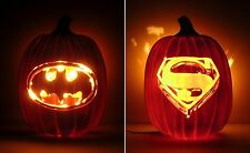 "BATMAN 1989 / SUPERMAN 1978 Movie Logos (Hand-Carved Foam Pumpkin 12"")"