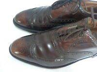 Vintage Burnished Brown Leather Wing Tip Oxfords Cordwainer Wright Sz 9C