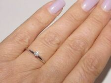 Solitaire 14K White Gold .10Ct Diamond Engagement Anniversary Promise Ring Sz 6