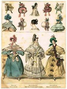 """Modes de Paris"" - ""CHAPEAU DE PAILLE COUSUE"" - Hand Colored Eng. - 1852"