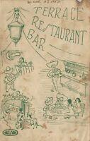 Vintage TERRACE Restaurant BAR Menu Hotel Polanco Mexico 1952