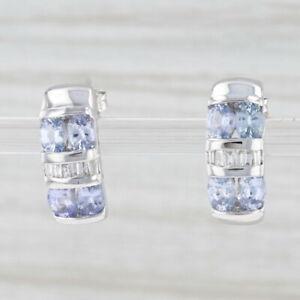 2.08ctw Light Blue Sapphire Diamond Earrings 10k White Gold Gemstone Drops