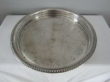 "International Silver Co Round Pierced Ornate Floral 15"" Serving Tray Dish"