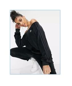 Adidas Relaxed Risque Velour Off Shoulder Sweater Size M