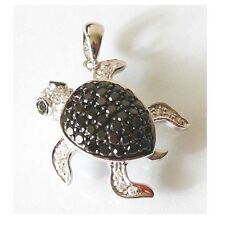 "14K Solid White Gold Black Diamond Sea Turtle Width ¾"" Length 1 inch DC-916-20"