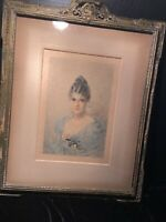 Antique 1893 GEORGE BARRIE Etching of a Woman Framed.