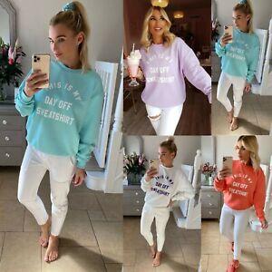 "Womens Ladies ""This Is My Day Off"" Slogan OverSize Sweatshirt Jumper Top Sweater"