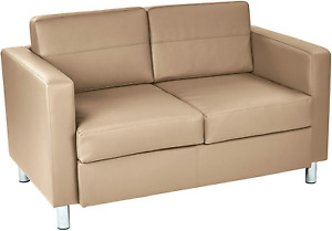Office Star Pacific Loveseat with Padded Box Spring Seats and Silver Metal Legs,