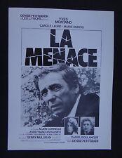 LA MENACE / YVES MONTAND ALAIN CORNEAU / scenario pressbook film cinéma