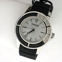 Versus by Versace Crystal Silver Tone SS Black Silicone AL13SBQ809 Watch