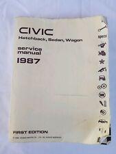 1987 Honda Civic Hatchback Sedan Wagon Service Shop Repair Manual