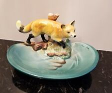 Vintage/Antique Hand Painted Red Fox Porcelain Soap Dish Vanity Tray Trinket