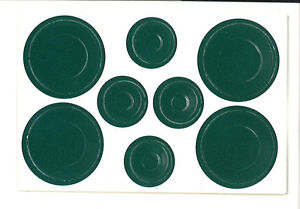 Dollhouse Miniature Green Plate Dish Set of 8 Paper Punch Out