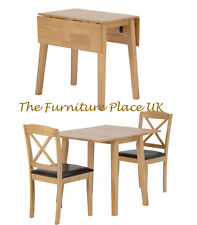 Double Drop Leaf Dining Set With 2 Chairs in Oak Varnish and Brown Faux Leather