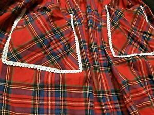 vintage 70's red white lace victorian prairie cotton tartan skirt maxi apron