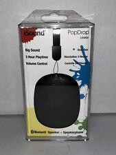 NIB~iSound PopDrop-Bluetooth Speaker & Speakerphone-Black-