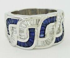 Charles Krypell 3 ct Platinum Baguette Sapphire & Diamond Weave Ring 28.9 grams