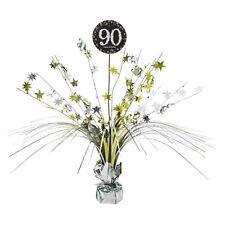90TH ANNIVERSAIRE Spray Pièce maîtresse table décoration noir argent or