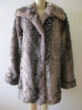 DENNIS BASSO BROWN & WHITE MIX EMBOSSED FAUX FUR COAT JACKET SIZE M - NWT