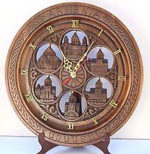 6 Church Armenian Handmade Handcrafted walnut Wood Decor Armenia clock