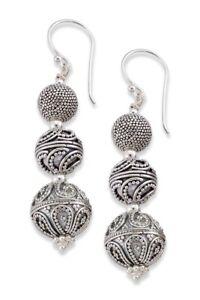 Samuel B Sterling Silver Scrollwork Design Triple Ball Drop Earrings New
