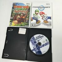 Used LOT 3 Nintendo Wii Video Games Mario Kart Super Smash Donkey Kong Country