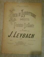 Spartito Lucia di Lammermoor Donizetti per piano J. Leybach fantasia brillante