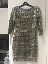 ASOS TFNC blogger Gold Sequin Body con Christmas Party Dress Medium UK 10 12