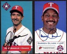 2 Texas Rangers AUTOGRAPHED Baseball Postcards - DARREN OLIVER, DICK BOSMAN