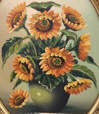 Hübsches Ölbild: Blumenstillleben Sonnenblumen im ovalen Rahmen