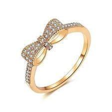 Redbarry Cute Bow Knot Tiny CZ Paved 18k Gold Plated Jewelry Rings for Teen...