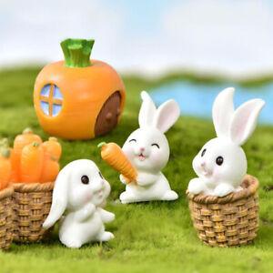 Mini Rabbit Easter Decor Hare Animal Figurine Resin Craft Bunny Garden Ornam_cd